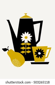Mid-century style illustration of a coffee pot, a cup and a pear in black, yellow and cream on taupe background. Stylish and modern greeting card, party invitation, wall art design.