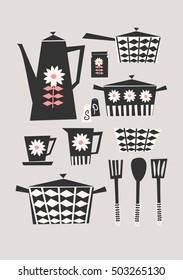 Mid-century style illustration of a set of kitchen items in black, pastel pink and cream on taupe background. Stylish and modern greeting card, party invitation, wall art design.