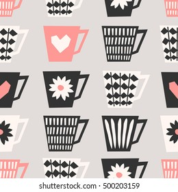 Mid-century style seamless repeating pattern with coffee cups in black, pastel pink and cream on taupe background. Stylish and modern greeting card, wrapping paper, party invitation, wall art design.