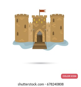 Middle age castle color flat icon for web and mobile design