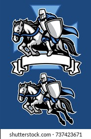 middle age knight warrior riding horse mascot