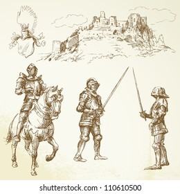 middle age knights - hand drawn set