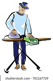 Middle Aged Man Ironing while wearing a fedora, sweatshirt and sweat pants.