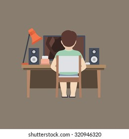 Middle Aged Man is Masturbating While Watching Adult Videos Online. Vector Illustration in Flat Style.