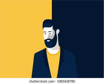 Middle aged man with modern hairstyle and bearded, illustration for advertise hairstyle saloon and barbershops with dark yellow and dark blue background.