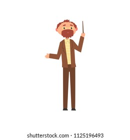 Middle aged professor standing with pointer, school teacher cartoon vector Illustration on a white background