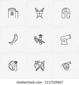 Middle Ages line icon set with bow and arrows, fortress and drinking horn