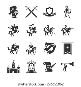 The middle ages vector illustration icon set. Included the icons as medieval, knight, dragon, castle, throne, game and more.