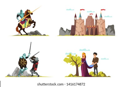 Middle ages vector illustrations set. Medieval castle drawing. Princess, prince, armed knights, warriors cartoon characters. Isolated design elements. Tournament duel fight, romantic scenes