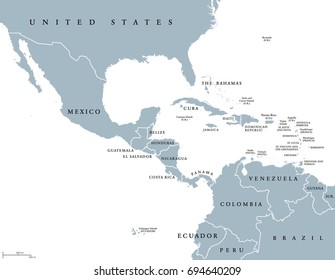 Middle America political map with borders and English labeling. Countries of southern North America, the nations of Central America and the Caribbean. Gray illustration on white background. Vector.