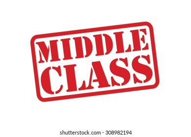 MIDDLE CLASS red Rubber Stamp over a white background.