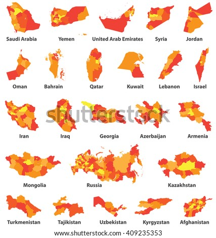 Middle East Arabic Countries Maps Stock Vector (Royalty Free ...