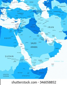 Middle East and Asia Map Blue Colors Map