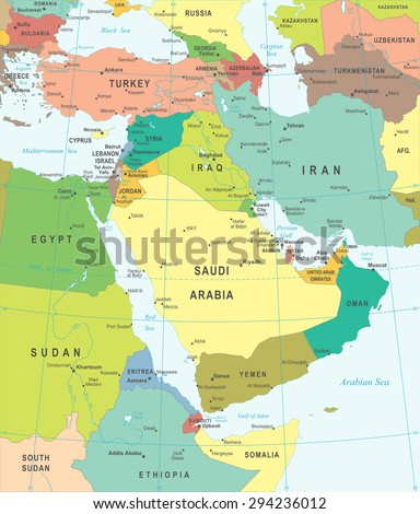 Middle East Asia Map Highly Detailed Stock Vector Royalty Free