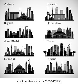 Middle East Cities skylines set. Detailed graphic Landmarks. Isolated vector illustration.