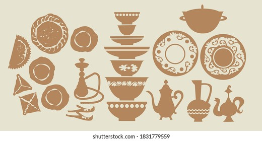 Middle east food and dishes silhouette icons set. Design element for web banners, posters, cards, wallpapers, backdrops, panels.