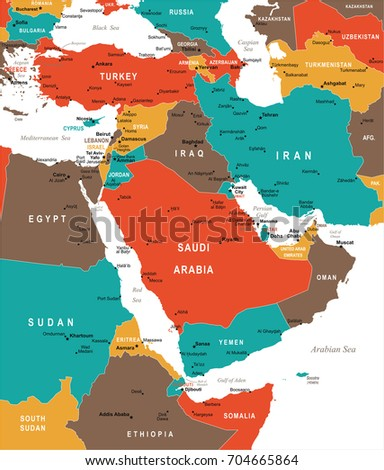 Middle East Map Detailed Vector Illustration Stock Vector (Royalty ...