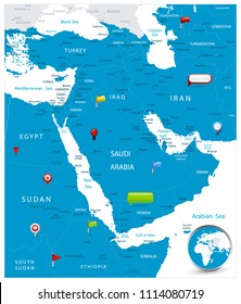 Middle East Map and glossy icons on map. Detailed vector illustration of map.