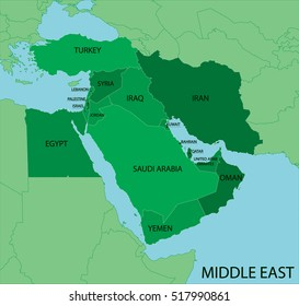 Middle East Map Green