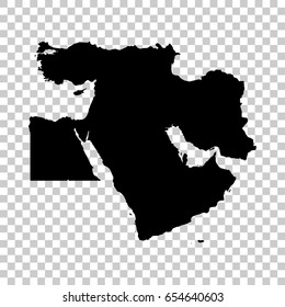 Middle East map isolated on transparent background. Black map for your design. Vector illustration, easy to edit.