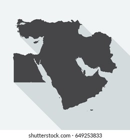 Middle East map with long shadow on white background. Black map in a flat design style. Vector illustration, easy to edit.