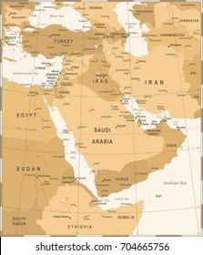 Middle East Map - Vintage Detailed Vector Illustration