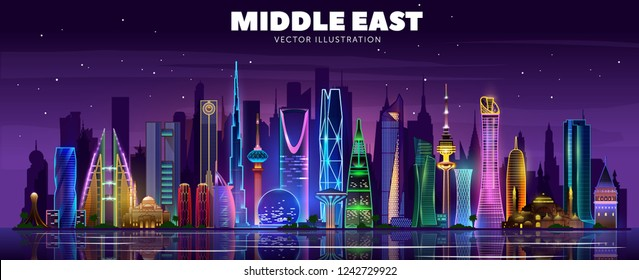 Middle east night skyline. Vector illustration.