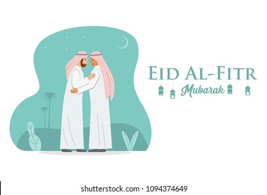 Middle East people hug each other as they celebrate Eid al-Fitr. Vector Illustration