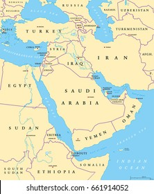 Middle East political map with capitals and national borders. Transcontinental region centered on Western Asia and Egypt. Also Middle-Eastern, Near or Far East. Illustration. English labeling. Vector.