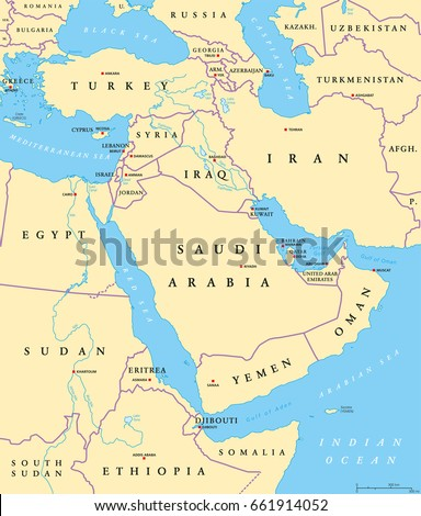 Middle East Political Map Capitals National Stock Vector Royalty