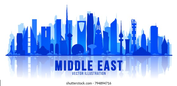 Middle East silhuette skyline. Vector Illustration. Business travel and tourism concept with modern buildings. Image for banner or web site.