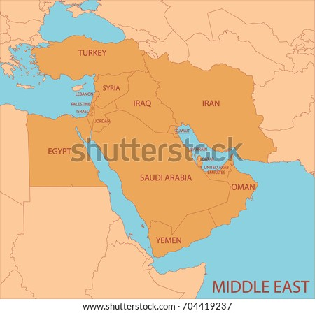 Middle East Simple Map Country Names Stock Vector (Royalty Free ...