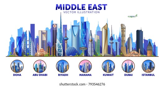 Middle East skyline with panorama in sky background. Vector Illustration. Business travel and tourism concept with modern buildings. Image for banner or web site