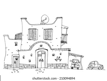 Middle East traditional facade - cartoon
