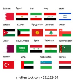 Middle east vector flag set of states. high detailed illustration isolated on white background. Middle east countries collection illustration. Asia icon of middle east states.