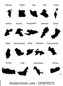 Middle east vector set of states. high detailed silhouette illustration isolated on white background. Middle east countries collection illustration. Asia icon of middle east states.