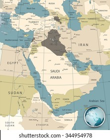 Middle East And West Asia Map Old Colors.