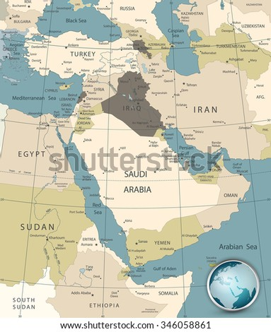 Middle East West Asia Map Old Stock Vector Royalty Free 346058861