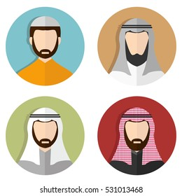 Middle Eastern Arabic Men, Muslim avatar People Icons