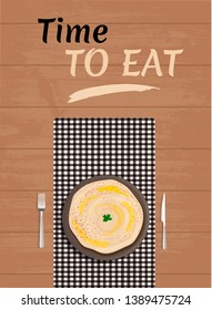 Middle Eastern cuisine - hummus on a napkin with cutlery on wooden table. Template for cafe, restaurant, advertising, website, banner, postcard. Vector illustration of arabic food. Top view
