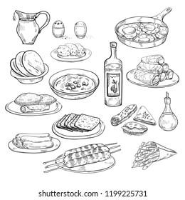 Middle eastern cuisine. Menu. Hummus, kebab, dolma, falafel, shakshuka, al haesh, chips, kube, sigarim, berekas. Vintage hand drawn sketch vector illustration. Middle eastern tradition
