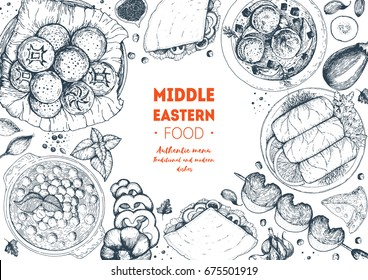 Middle eastern cuisine top view frame. Food menu design with hummus, kebab, dolma and falafel. Vintage hand drawn sketch vector illustration. Middle eastern traditional food.