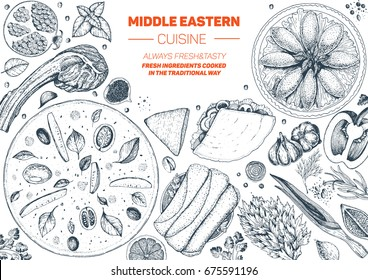 Middle eastern cuisine top view frame. Food menu design with manakish, kebab, shawarma and kibbeh. Vintage hand drawn sketch vector illustration.  Middle eastern traditional food.