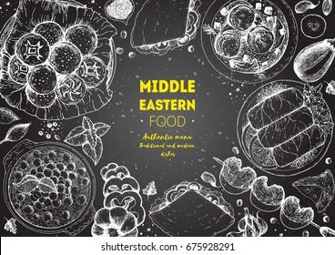 Middle eastern cuisine top view frame. Food menu design with hummus, kebab, dolma and falafel. Vintage hand drawn sketch vector illustration.