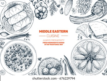 Middle eastern cuisine top view frame. Food menu design with cholent, kebab, dolma, kibbeh, matzo ball soup. Vintage hand drawn sketch vector illustration.