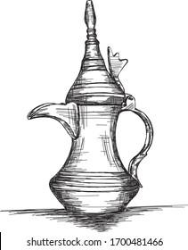 Naher Osten Kultur Dallah - Vektorillustration Illustration der arabischen Kaffeekanne