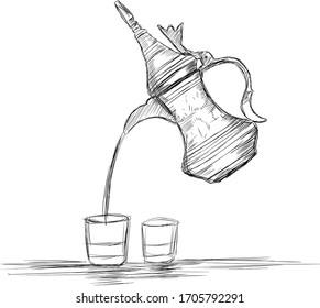 Naher Osten Kultur Dallah - Vektorillustration Illustration der arabischen Kaffeekanne und Tassen