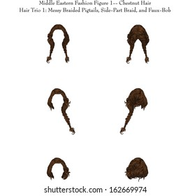 Middle Eastern Fashion Figure 1--Chestnut Hair Hair Trio 1: Messy Braided Pigtails, Side-Part Braid, and Faux-Bob