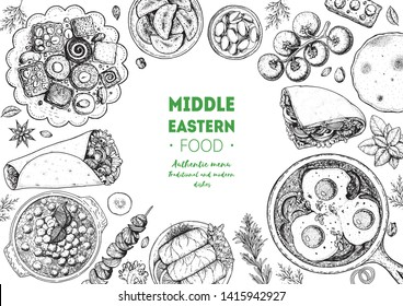 Middle eastern food top view frame. Food menu design with kebab, dolma, hummus, shakshouka and sweets. Vintage hand drawn sketch vector illustration.