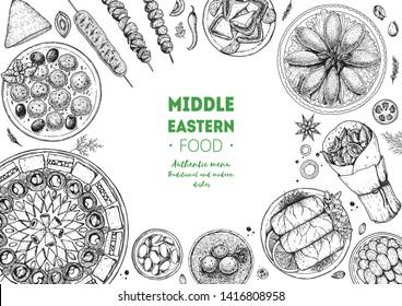 Middle eastern food top view frame. Food menu design with dolma, kibbeh, kebab, shawarma, baklava, meat balls . Vintage hand drawn sketch vector illustration.